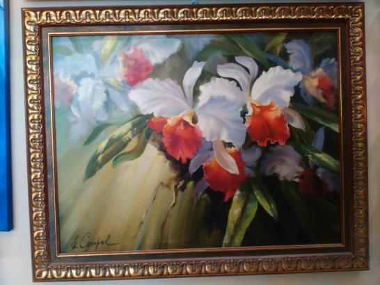 Картина «Цветы» в раме 51х65 см - П228