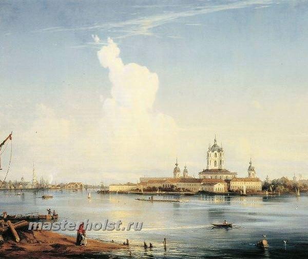 017 Вид на Смольный монастырь с Большой Охты. 1851. Холст, масло