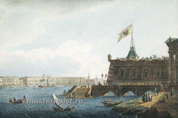 018 Вид на Неву со стороны Петропавловской крепости. 1821