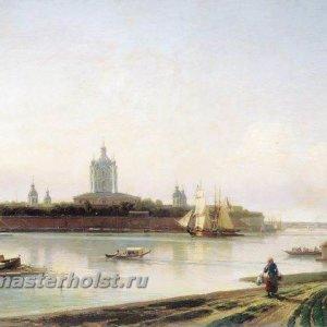 022 Вид Смольного монастыря с Большой Охты. 1870-е. Холст, масло. 78х117 см