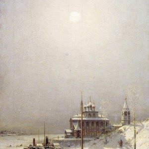 023 Зима в Борисоглебске. Холст, масло, 119х71 см