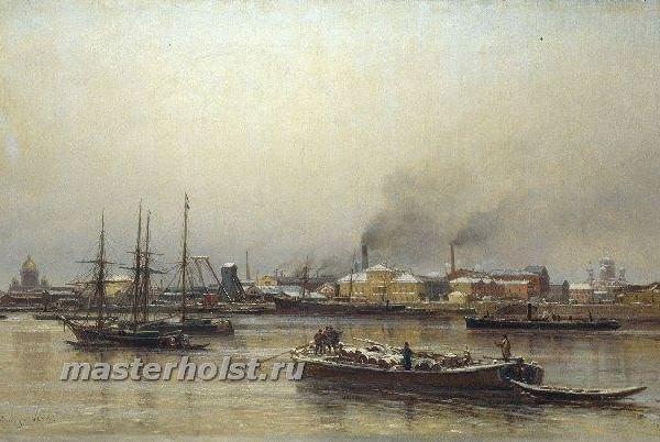 024 Набережная Невы. 1876. Холст, масло