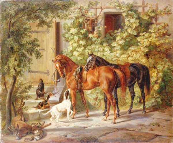 028 Adam, Albrecht - Horses at the Porch