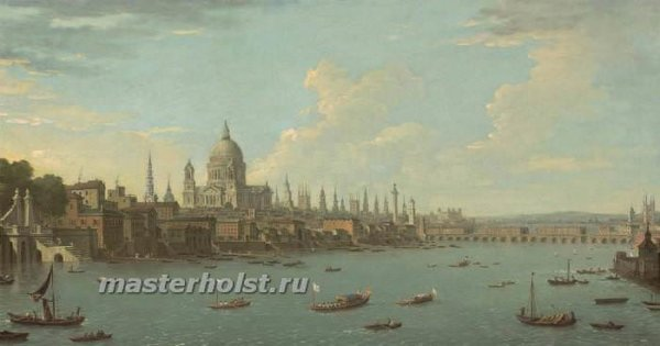049 Antonio Joli - A view of London & the Thames with St. Pauls
