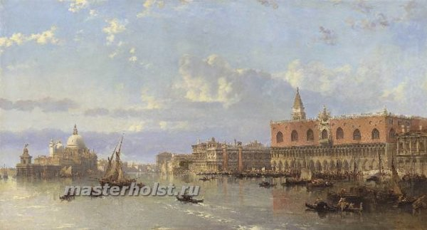 050 David Roberts – View of the Doges Palace and the Piazzetta, Venice, with Santa Maria della