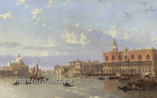 050 David Roberts - View of the Doges Palace and the Piazzetta, Venice, with Santa Maria della