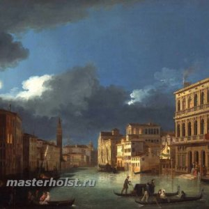 053 Giuseppe Bernardino Bison - View of the Grand Canal by Moonlight