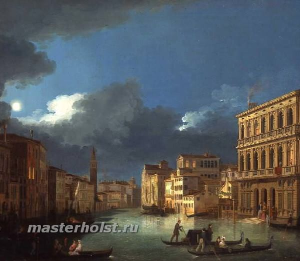 053 Giuseppe Bernardino Bison – View of the Grand Canal by Moonlight