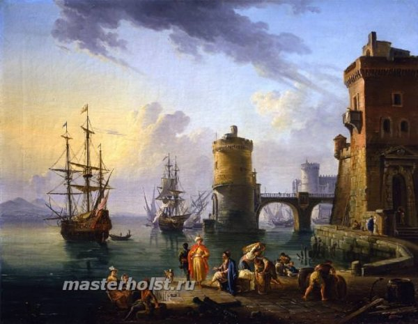054 Jean-Baptiste Lallemand - A port scene Turkish merchants on the landing stage in front of ships