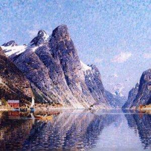 066м Adelsteen Normann - A Norwegian Fjord Scene