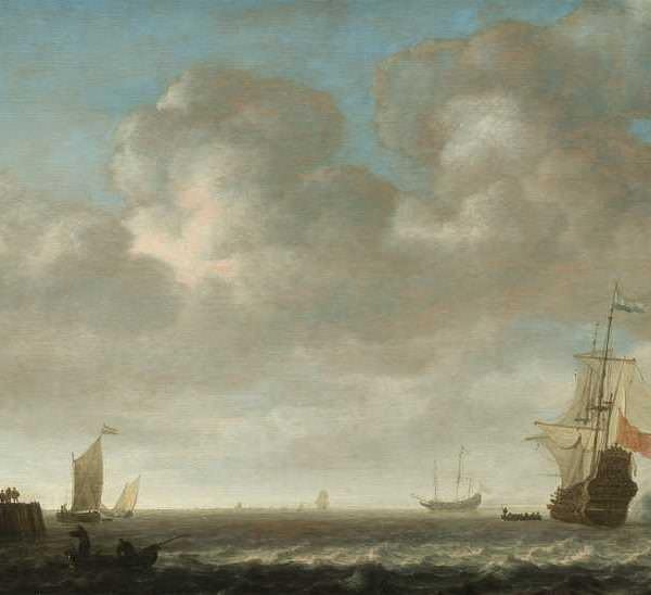 069м An estuary scene, with a Man OWar firing a salute to the right and small vessels off a jetty to the left