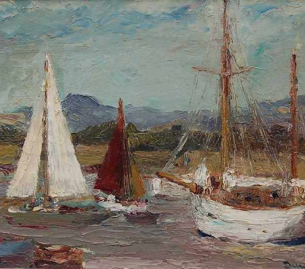 078м Ronald Ossory Dunlop - Boats at Itchenor, near Chichester