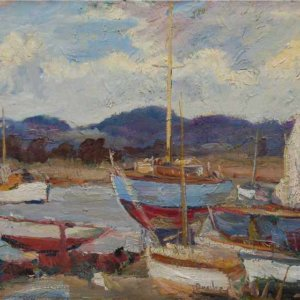 079м Ronald Ossory Dunlop - Boats at Itchenor, Sussex