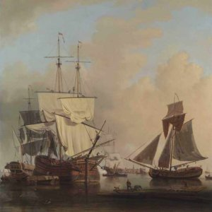 080м Samuel Scott - Shipping on the Thames off Rotherhithe