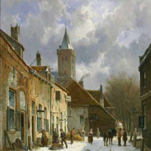 098 Adrianus Eversen - A Dutch street scene