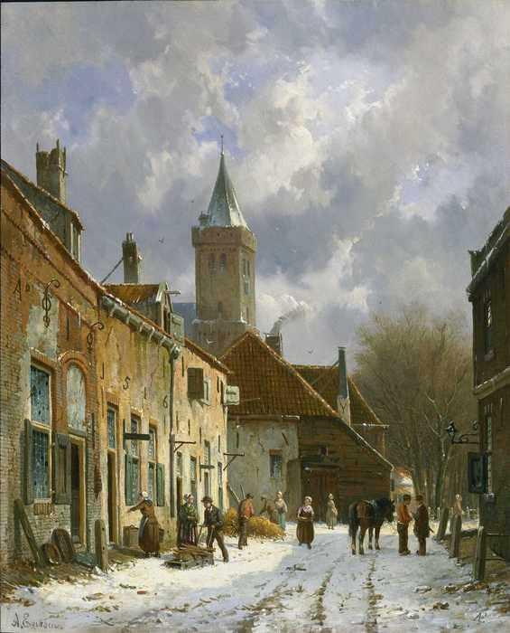 098 Adrianus Eversen - A Dutch street scene