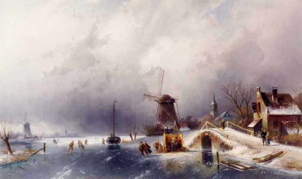 099 Charles Henri Joseph Leickert - Skaters in a Winter Landscape