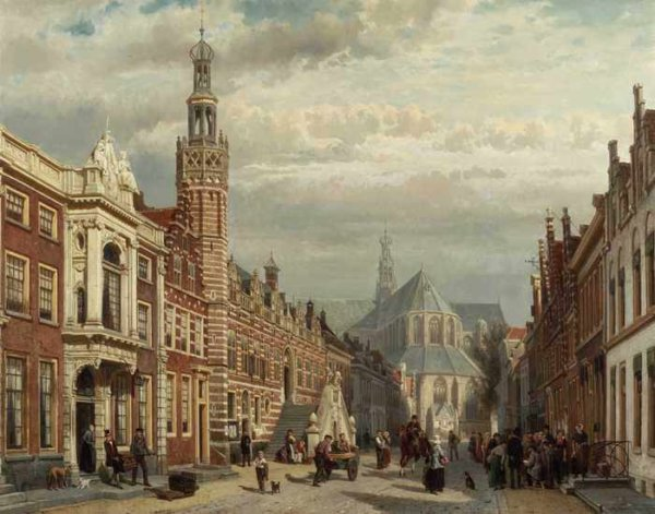 100 Cornelis Springer - View of the Town Hall and St Lawrences Church in Alkmaar