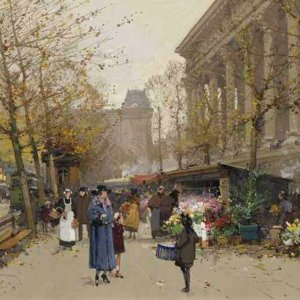 102 Eugene Galien-Laloue - Flower Market, La Madeleine
