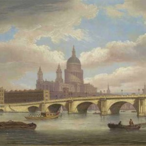 109 Thomas Luny - View of the River Thames with St. Pauls Cathedral and Blackfriars Bridge