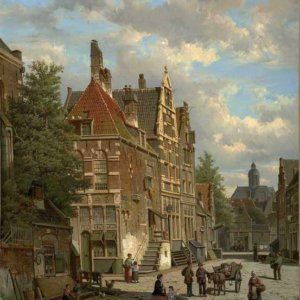 110 Willem Koekkoek - Dutch Town Scene with Figure