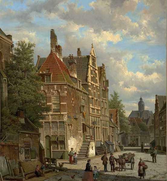 110 Willem Koekkoek — Dutch Town Scene with Figure