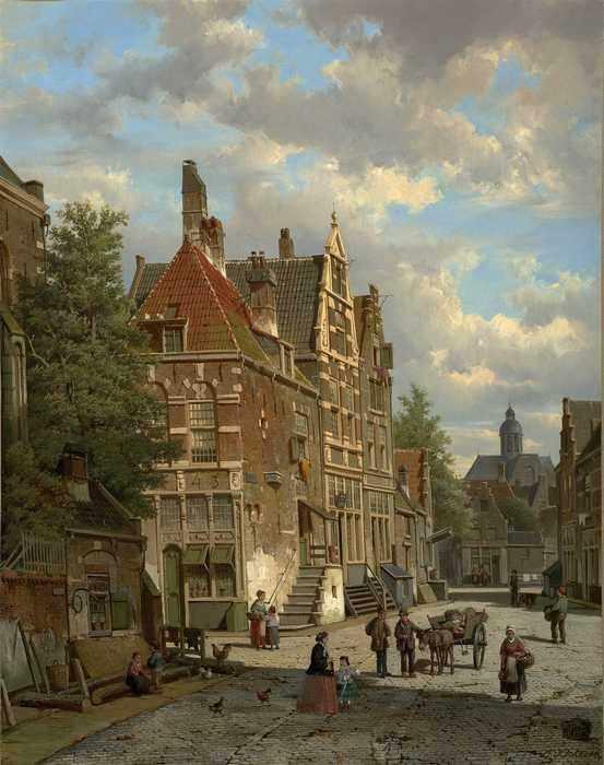 110 Willem Koekkoek - Dutch Town Scene with Figure