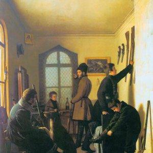 114 Крендовский Е. Сборы художников на охоту