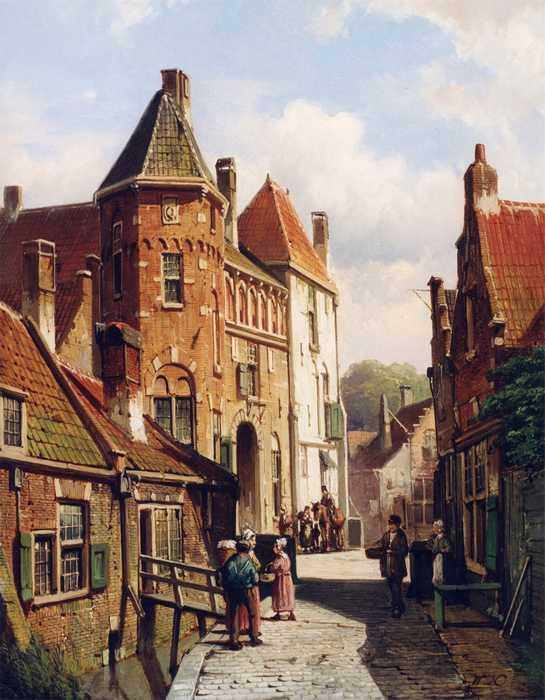 111 Willem Koekkoek - Dutch Town Scene with Figures