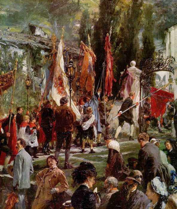 131 Менцель, Адольф Фридрих Эрдман фон.Праздник тела Христова в Хофгаштайне. Фрагмент