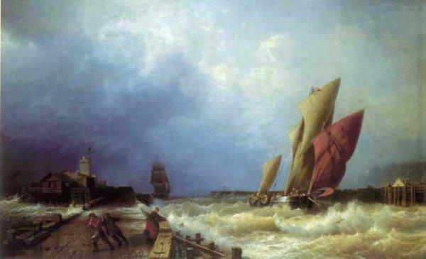 143 Боголюбов, А П.Вход рыбачьего судна в бурю в гавань Сен-Валери в Ко
