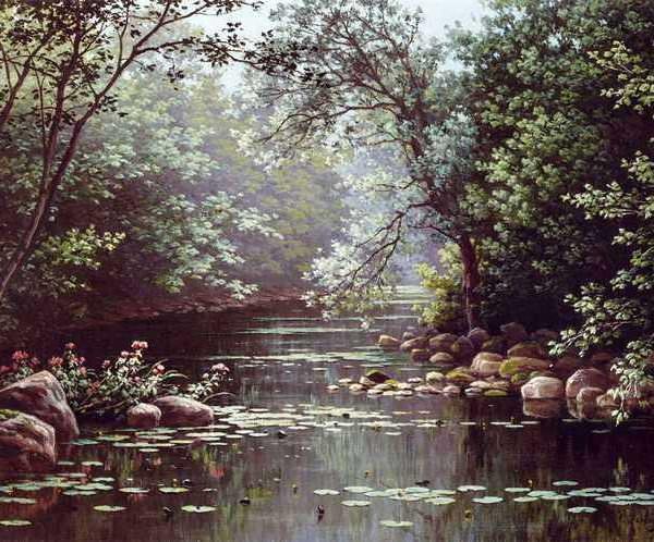 260 Rene Charles Edmond His – River Landscape in Summer