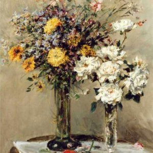 096 Mark Fisher - Flowers in Two Glass Vases on a Table