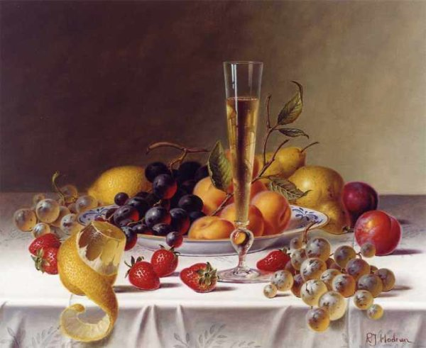 100 Roy Hodrien – A Still Life with Champagne & Fruit on a Tablecloth