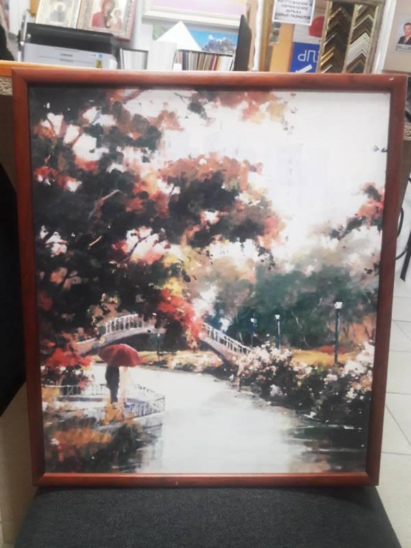 Картина оргалит «Двое под зонтом на фоне моста» в раме  40х35 см – О216
