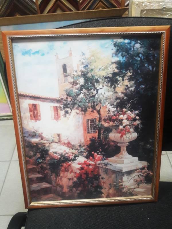 Картина оргалит «Цветы в саду» в раме 37х29,5 см – О217