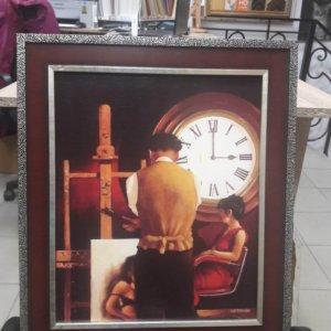 """Картина """"Художник и часы"""" в раме 40,2х33 см – О229"""
