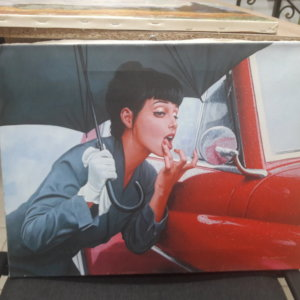 Картина «Девушка с зонтом у машины» обычная натяжка 37х49 см – О233