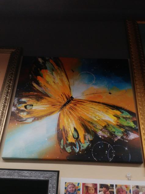 Картина «Бабочка» галерейная натяжка 62х62 см - П236