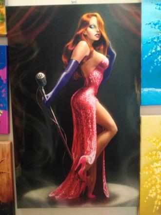Картина «Девушка с микрофоном» галерейная натяжка 70х44 см – П254