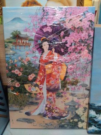 Картина «Китаянка с зонтом» галерейная натяжка 59х40 см – П255