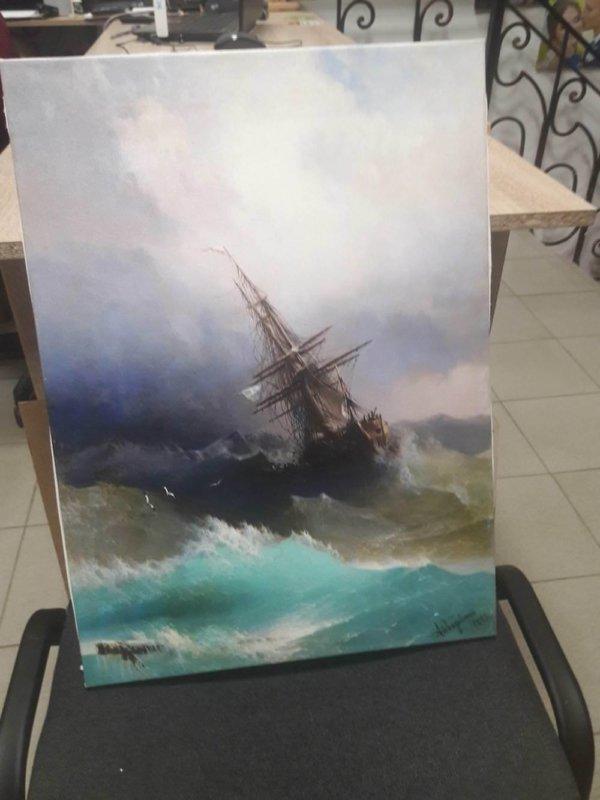 Печ/ х И. Айвазовский «Буря» обычная натяжка с фактурным гелем 55х40 см