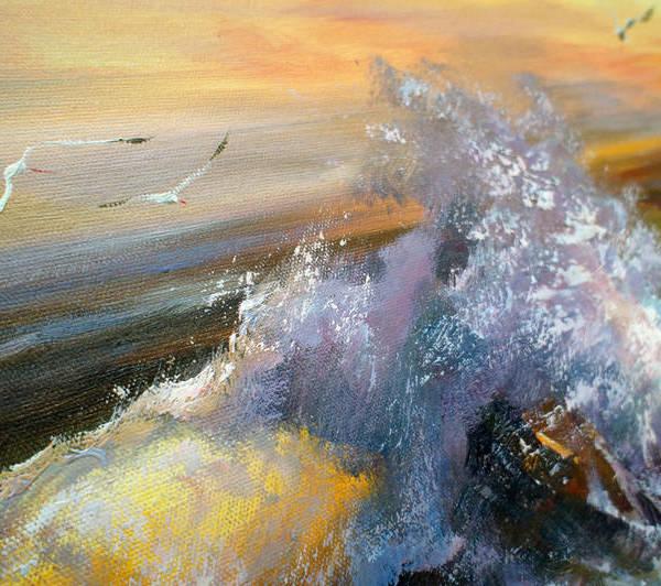 Детали 2 Картины без рамы Морской прибой 75х185см -153