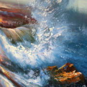 Детали Картины без рамы Морской прибой 75х185см -152