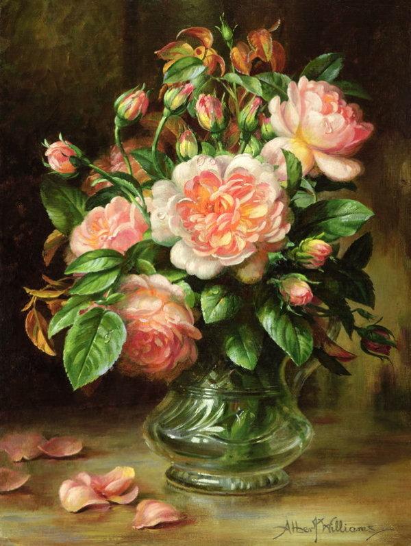 Элегантные розы в стекле - Альберт Вильямс