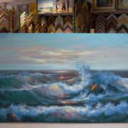 Картина без рамы Морской прибой 75х185см -152