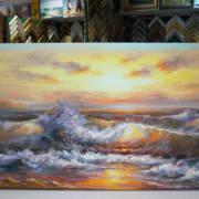 Картина без рамы Морской прибой 75х185см -153