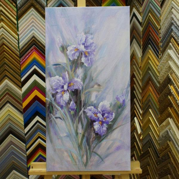 Картина без рамы цветы 40х78см- 106