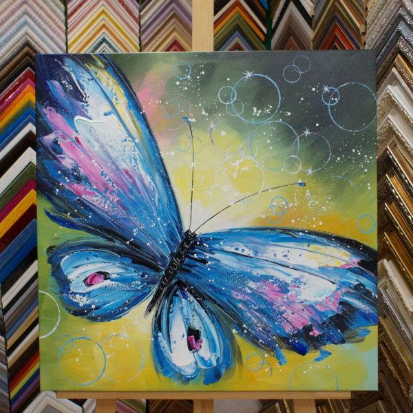 Картина галер натяжка Бабочка 62х62см -119