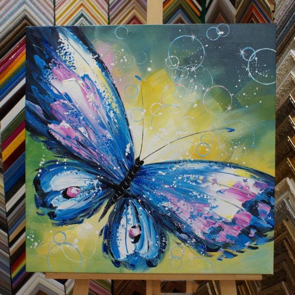 Картина галер натяжка Бабочка 62х62см -122